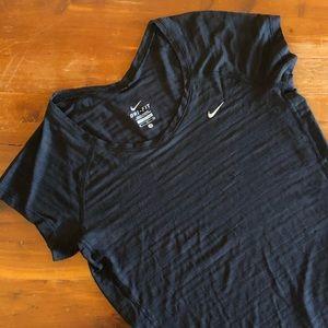 NIKE Dri-Fit Semi-Sheer Short Sleeve Black Shirt